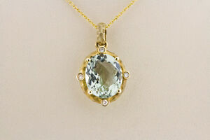 14K Yellow Gold Diamond Pendant Women's Natural Oval Green Amethyst Necklace 16""