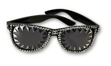80s Rocker Spiked & Rhinestone Sunglasses Black Silver Costume Accessory