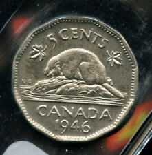 1946 Canada 5 Cents Nickel Coin - ICCS MS-64 Cert#XM664