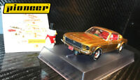 """Pioneer """"Santa's Stang"""" Gold 1968 Ford Mustang 390 GT 1/32 Scale Slot Car P038"""