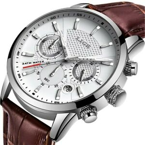 Lige Herrenuhr Weiß Silber Businessuhr Chronograph braunes Lederarmband NEU&OVP