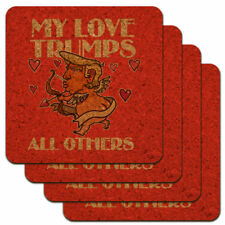 My Love Trumps All Others Valentine Day Low Profile Cork Coasters
