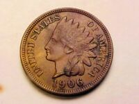 1906 Indian Head Cent Penny, AU+ Nice Toning
