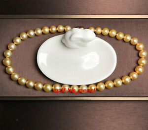 """AAAAA natural 18""""10-11mm REAL south sea deep golden pearl necklace 14K gold"""