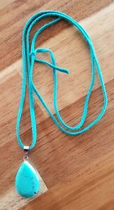 Leather and Natural stone necklace.