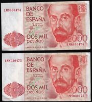 1980 | Spain 2000 Pesetas 'Consecutive Numbers' Banknotes | Banknotes | KM Coins
