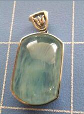 Aquamarine Pendant in Platinum Coated Silver