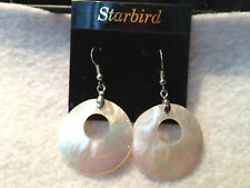 White Mother Of Pearl Pearlescent Seashell Dangle Earrings 80's Vintage