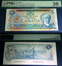 "PMG 50, ABOUT UNCIRCULATED ,Bank OF Canada ""31"" 1975 $5 REPLACEMENT"