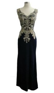 Aspeed L1695 Size Small Embroidered V-Neck Sheath Evening Dress, New, Tags On