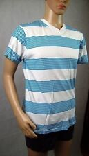 New Mens Southpole Striped Casual T-Shirt Tee - Blue & White Top - Size L