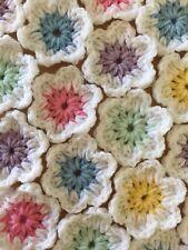 """10 CROCHET FLOWERS 2.5"""" APPLIQUE EMBELLISHMENT FOR GRANNY SQUARES CRAFT HANDMADE"""