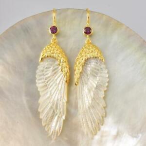 Angel Wing Carved Mother-of-Pearl Vermeil Sterling Gemstone Hook Earrings 8.88 g