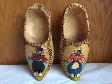 "Authentic Vintage Wooden Dutch Shoes Carved Wood Clogs Holland Hanging 7.5"" x 3"""
