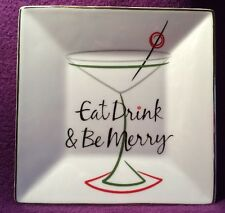 """Food Network 6"""" Square Plate """"Eat Drink & Be Merry"""" Christmas Holiday Martini"""