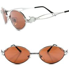 Genuine Vintage Funky Crocodile Temple Mens Womens Silver Round Oval Sunglasses