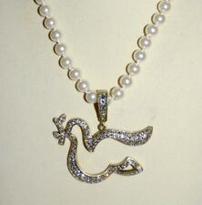 New $160 Heidi Daus DAZZLING DOVE Crystal-Accented Enhancer Pearl Necklace