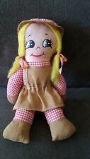 "Vintage Stahlwood Toy Mfg Inc Cloth Doll 7"" Tall, Free Shipping"