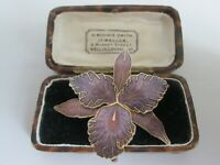 VINTAGE SIGNED CLOISONNE ENAMEL PURPLE ORCHID LILY BROOCH SHAWL PIN