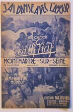 Partition vintage sheet music EDITH PIAF J'ai Dansé Avec l'Amour * 40's CAYATTE