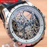 Mens Automatic Mechanical Watch - Silver White Dial Leather DIASTERIA 13868