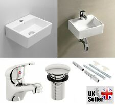 Cloakroom Basin Sink Square Corner Small Wall Hung Bathroom + Tap Mixer + Waste