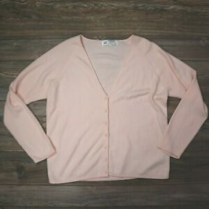 Vintage Jack Scotland Womens XL Pure Cashmere Pink Sweater Long Sleeve Button Up