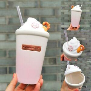 New Starbucks 2021 China Pink Sakura Cream Silica Gel Cover 16oz Cup Mug