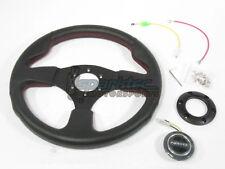 NRG 320mm Sport Leather Steering Wheel Black w/ Red Stiching & 3 Spoke Center