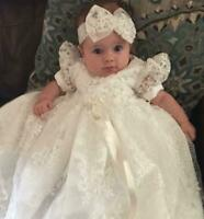 Baby Girl Boy Baptism Dress White Ivory Toddler Christening Gown Bowtie Pearls