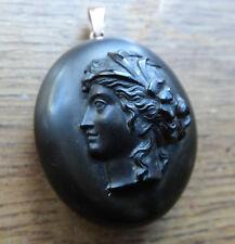 Antico Vittoriano EBANITE 3D Nero Cameo Lady foto medaglione ciondolo-C243
