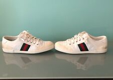 Gucci Men's White Ace Leather and Suede Low Top Sneakers Men's Shoes 10.5
