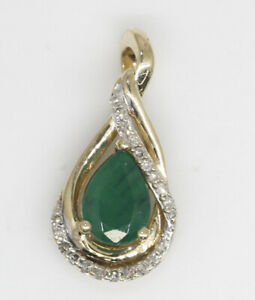 GORGEOUS 14K YELLOW GOLD PENDANT WITH 1.10 CTW EMERALD AND DIAMONDS #A6