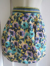 Ladies size 6 H&M short summer skirt peach navy teal purple multi coloured
