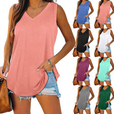 Summer Womens Sleeveless V Neck T Shirt Casual Solid Blouse Loose Tunic Tank Top