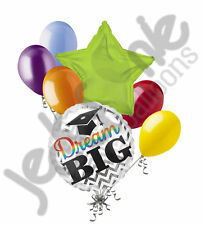 7 pc Dream Big Rainbow Graduation Balloon Bouquet Congratulations Congrats Grad