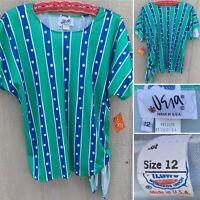 Vintage Vera (Vera Neumann) Top Striped Polka Dot Side Tie 70s 80s Union Made 12