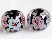 10pcs exquisite handmade Lampwork glass  beads black flower round 14mm