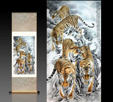 Chinese Silk Scroll Painting tiger Home Office Decoration(招财五虎图)