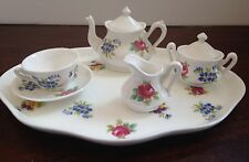 CROWN STAFFORDSHIRE WHITE FLORAL BOUQUET 8 PIECE MINI / MINIATURE TEA SET MINT