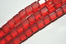 AI3-16 - 60 GLAS PERLEN 6 MM WÜRFEL ROT