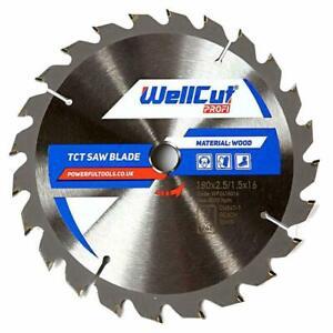 WellCut Profi TCT Circular Saw Blade 180mm x 24T x 16mm Makita Dewalt Bosch