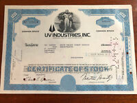 UV Industries Inc stock certificate - 50 shares - 1977 - Formerly U.S. Smelting,