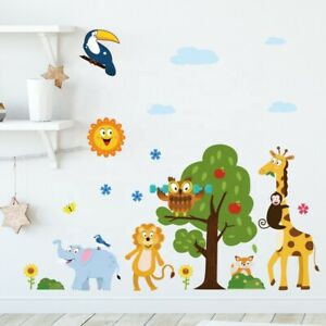 REMOVABLE ANIMAL JUNGLE ZOO WALL STICKER DECAL BABY KIDS CHILDREN  ROOM MURAL