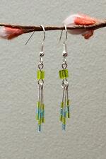 Handmade Silver Plated Green Beaded Drop Dangly Tassel Earrings Lime/Turquoise