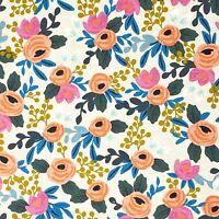 1 yd RIFLE PAPER Co. CANVAS Fabric Les Fleurs Flora Rosa  Natural Cotton + Steel