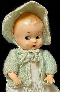 """Vintage Ideal Molded Hard Plastic 8"""" Boopsie Doll In Knitted Outfit"""