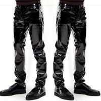 Men's Nightclub Party Shiny Patent PVC Leather Tight Pants Leggings New Fashion