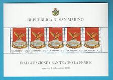 SAN MARINO BF 2003 APERTURA TEATRO LA FENICE  FOGLIETTO NUOVO MNH** 5 VALORI