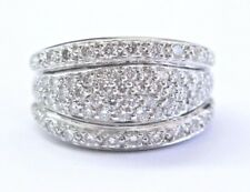 Platinum Round Cut Diamond 6-Row Pave Band Ring 1.00Ct